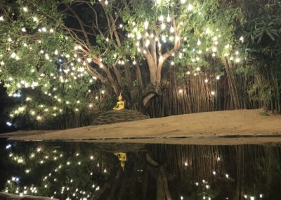 lights on pond in Chiang Mai temple